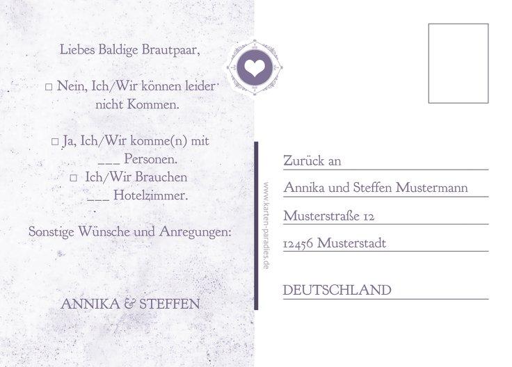 Ansicht 3 - Antwortkarte Hochzeitspass