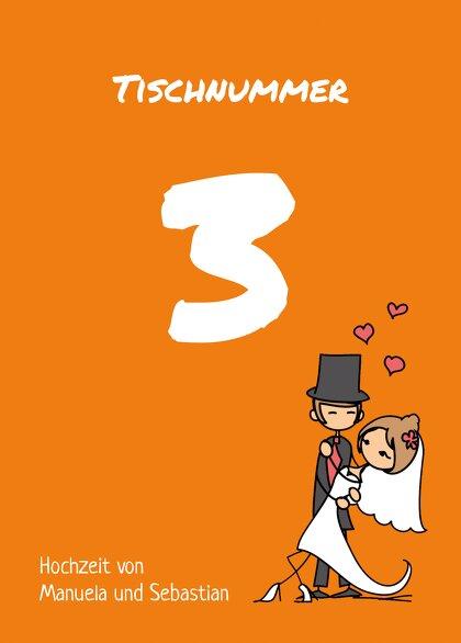 Ansicht 2 - Tischnummer Comic Brautpaar