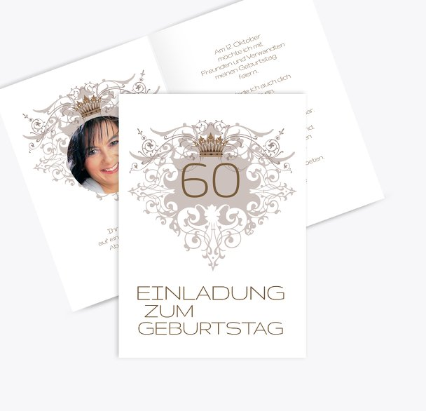 Einladungskarte Krone 60 Foto