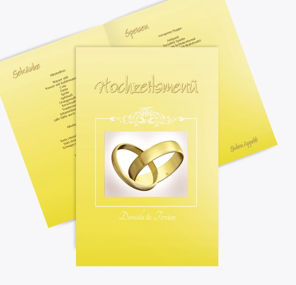 Hochzeit Menükarte Din Ringetausch