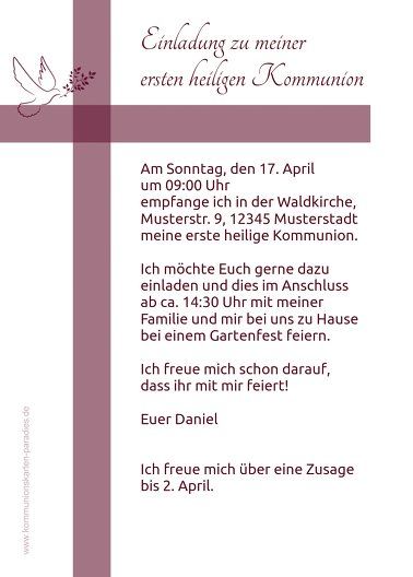 Ansicht 3 - Kommunionskarte Glaubensbote