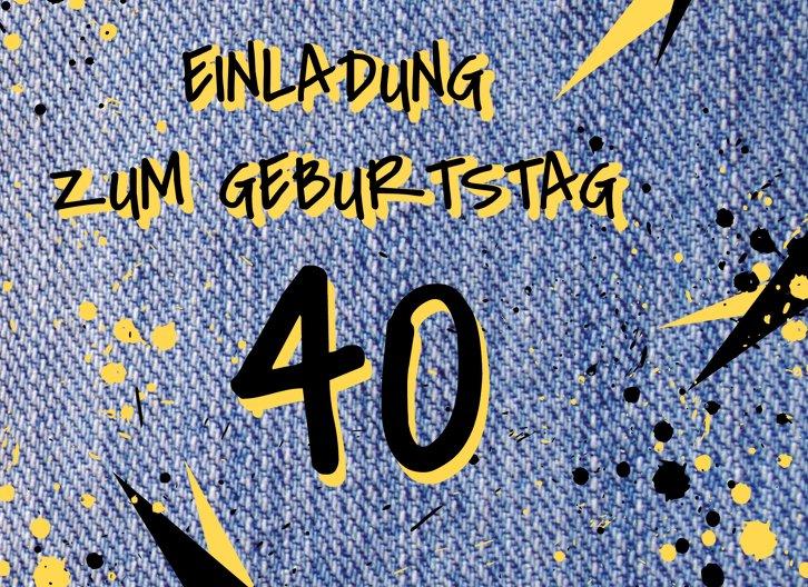 Ansicht 3 - Geburtstagseinladung Jeans Style 40