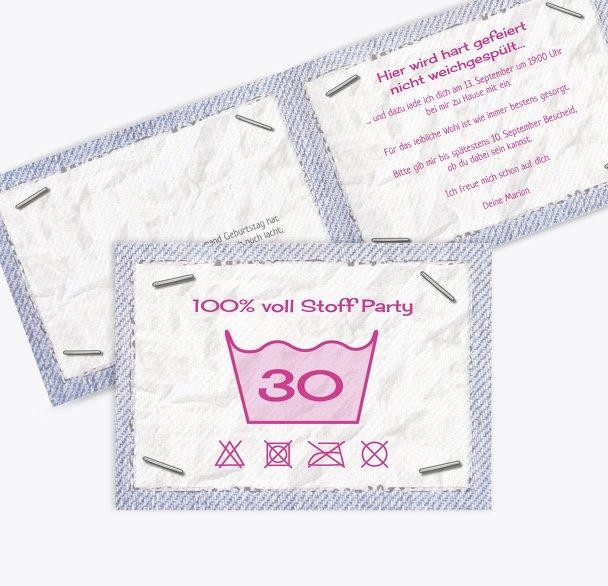 Einladungskarte Waschzettel 30