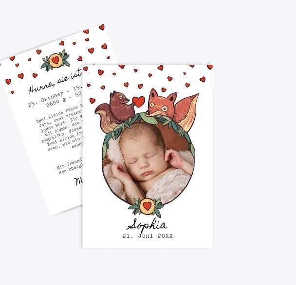 Geburtskarte Waldtiere