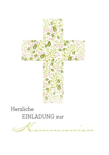 Ansicht 3 - Kommunion Einladungskarte Blumenkreuz
