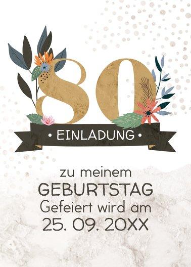 Ansicht 2 - Geburtstagseinladung Blumenzahl 80