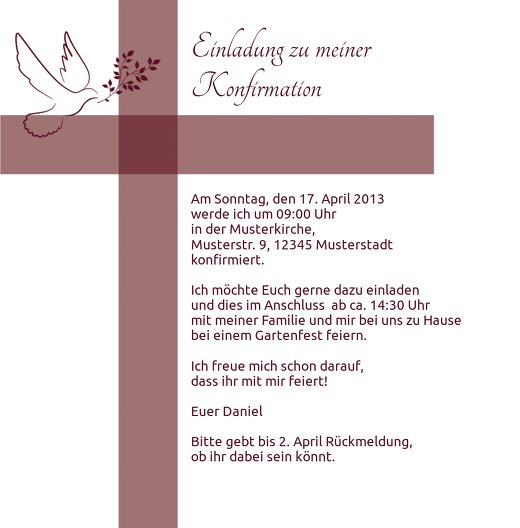 Ansicht 5 - Einladungskarte zur Konfirmation Glaubensbote