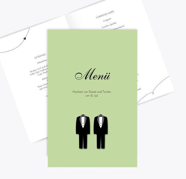 Hochzeit Menükarte suits