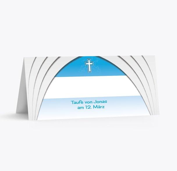 Taufe Tischkarte gotischer Bogen