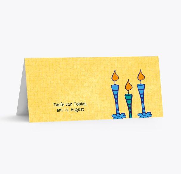 Taufe Tischkarte Kerzen