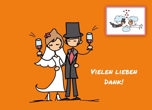 Ansicht 3 - Hochzeit Dankeskarte Comic Brautpaar