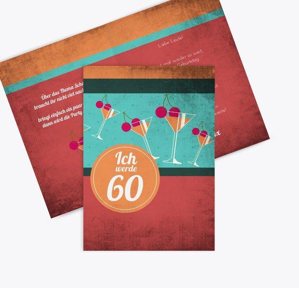 Geburtstagseinladung Cocktailparty 60
