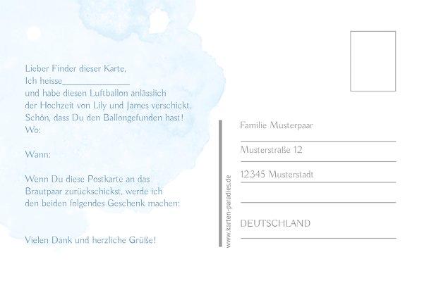 Ansicht 3 - Hochzeit Ballonkarte Wolke Sieben