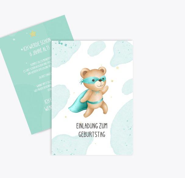Einladung Kindergeburtstag Super-Bär