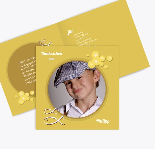 Kommunion Dankeskarte Star