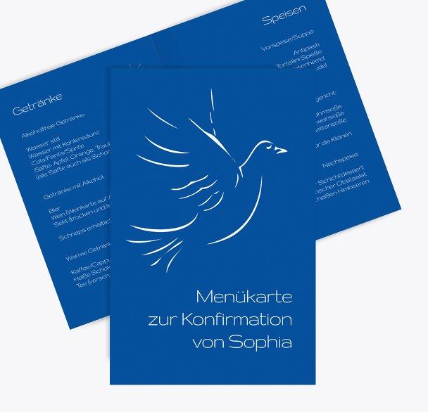 Menükarte Konfirmation Pigeon