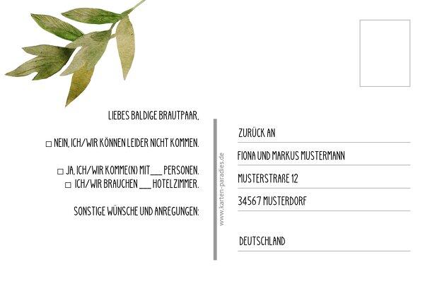 Ansicht 3 - Antwortkarte Blumendeko