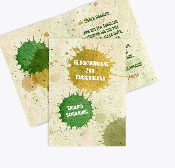 Glückwunschkarten Einschulung Farbkleckse