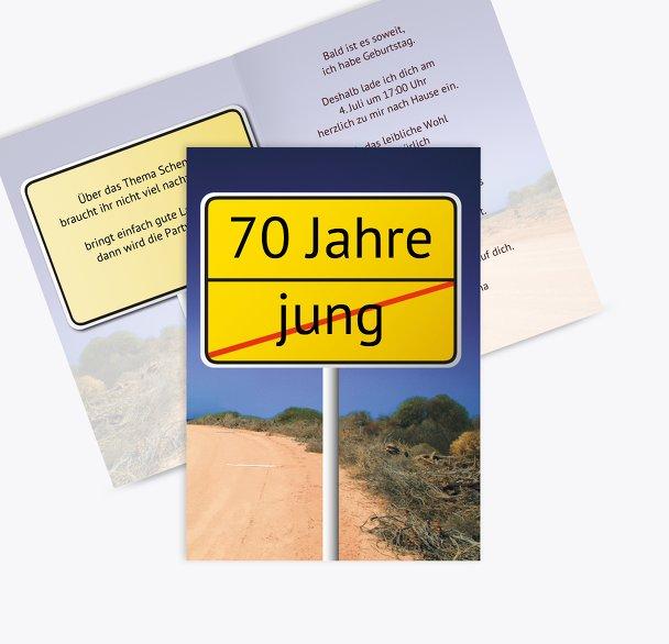 Karte zum Geburtstag Straßenschild 70