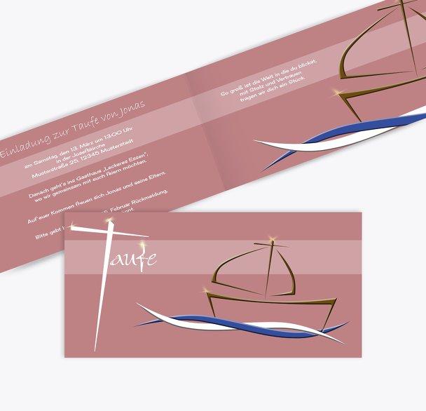 Einladungskarte Schiffchen auf Wellen 2