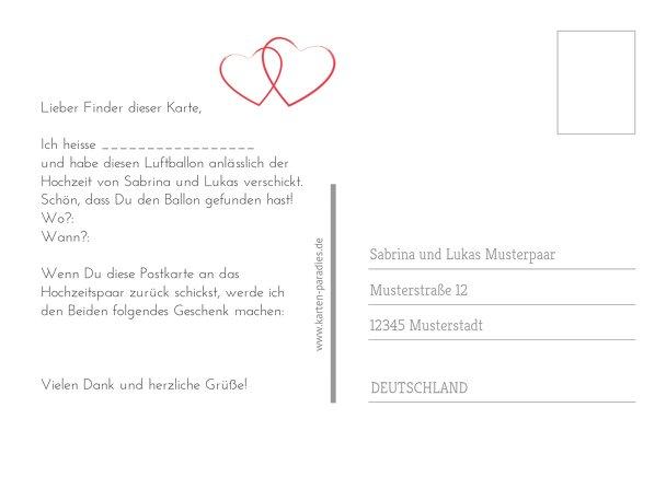 Ansicht 3 - Hochzeit Ballonkarte Herzensband