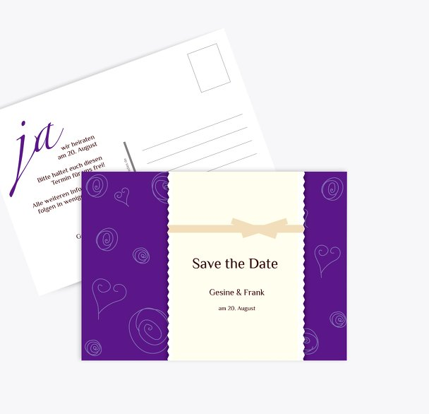 Save-the-Date curly hearts