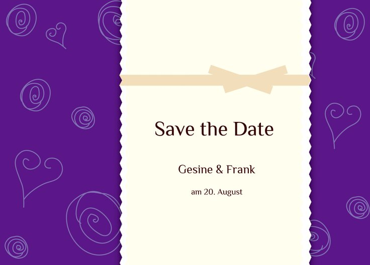 Ansicht 2 - Save-the-Date curly hearts