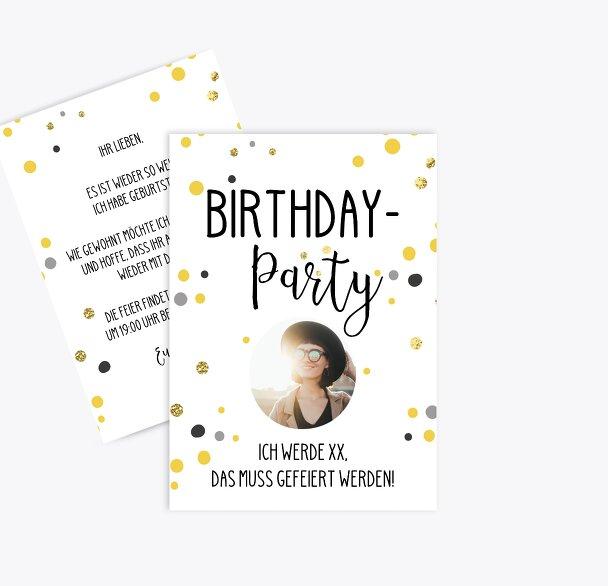 Geburtstagseinladung Konfetti-Party