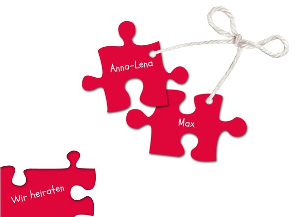 Ansicht 3 - Hochzeit Einladungskarte Puzzleteile