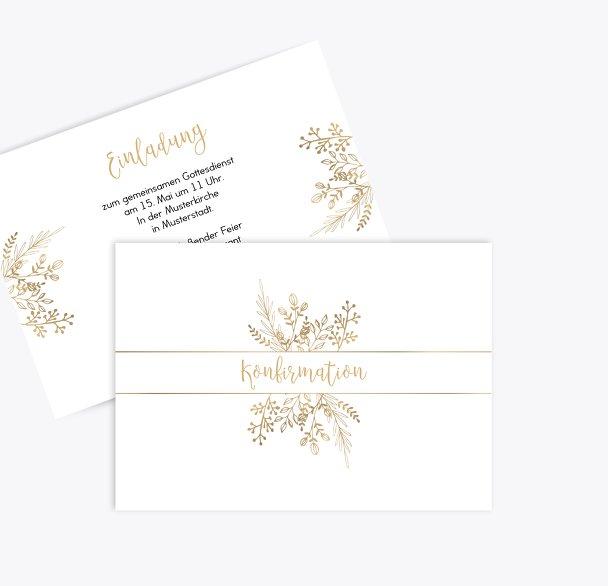 Konfirmation Einladungskarte Goldblüte