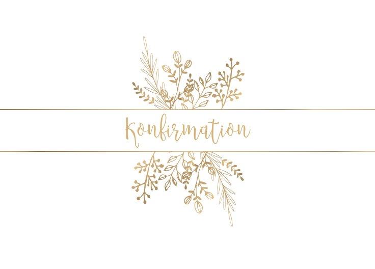 Ansicht 2 - Konfirmation Einladungskarte Goldblüte