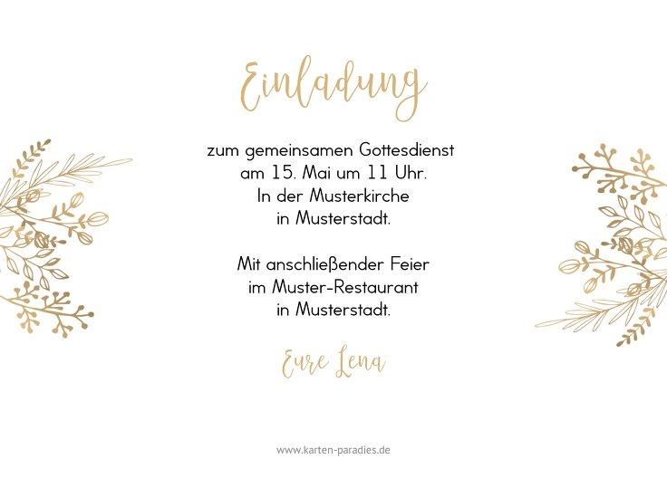 Ansicht 3 - Konfirmation Einladungskarte Goldblüte