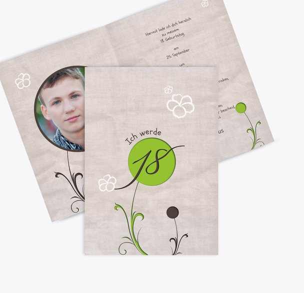 Geburtstagskarte Fantasyflower 18 Foto