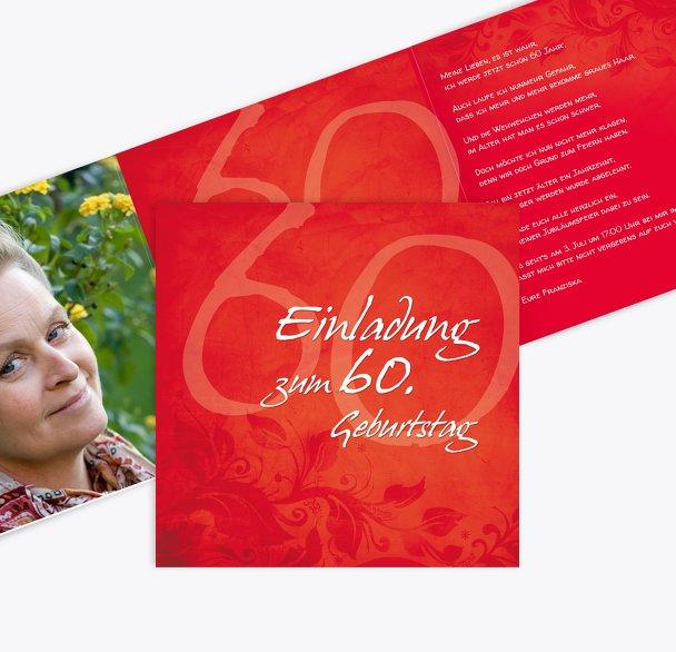 Geburtstagskarte floral verspielt 60 Foto