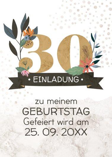 Ansicht 2 - Geburtstagseinladung Blumenzahl 30