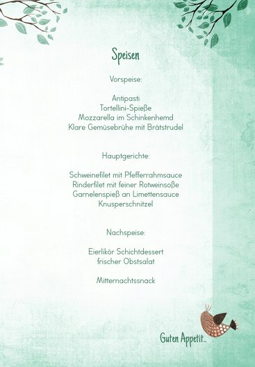 Ansicht 5 - Menükarte zur Konfirmation Vögelchen