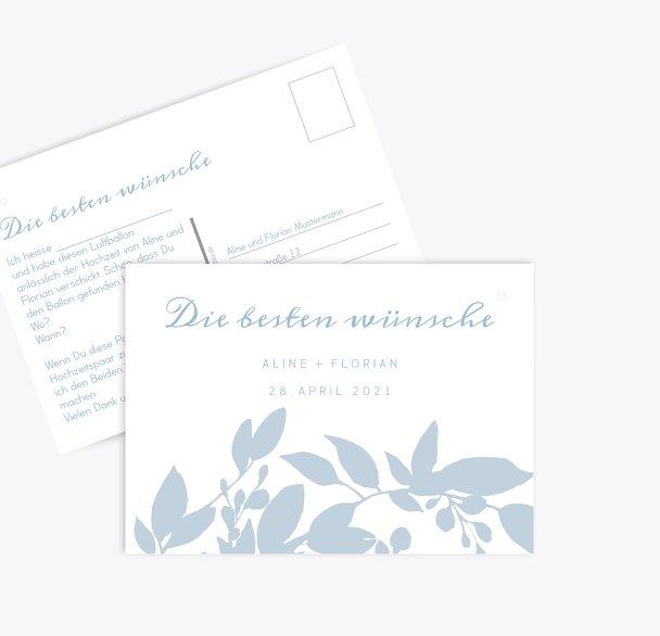 Hochzeit Ballonkarte Blauregen