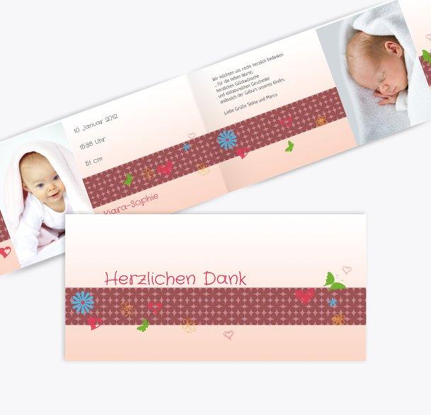 Baby Dankeskarte colorful garden