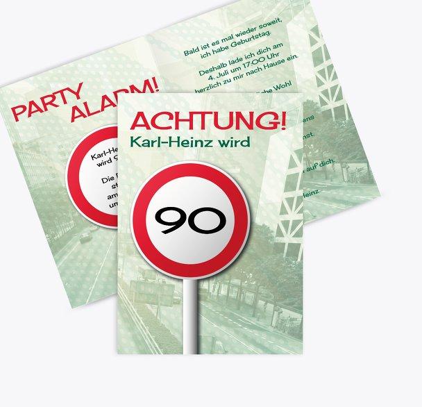 Einladung Begrenzungsschild 90