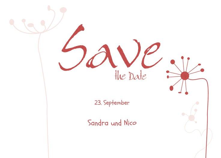 Ansicht 2 - Save-the-Date abstrakte Blumen