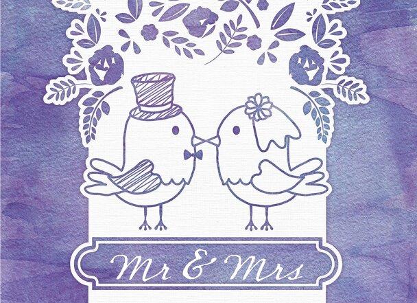Ansicht 3 - Hochzeit Dankeskarte Vogelpaar