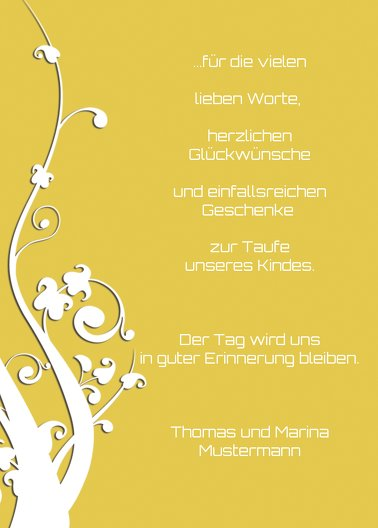 Ansicht 3 - Taufe Dankeskarte Florale Schnörkel 2