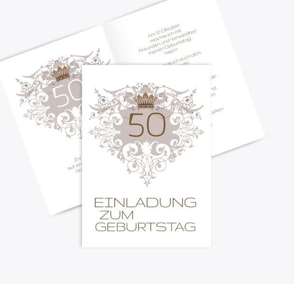 Einladungskarte Krone 50
