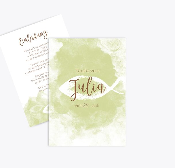 Taufe Einladungskarte Aquarelltraum