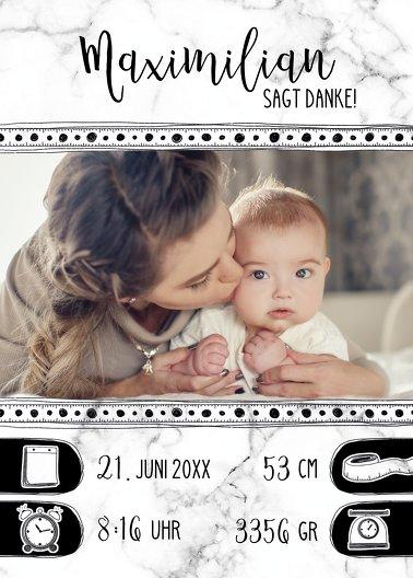 Ansicht 2 - Baby Dankeskarte Doodle