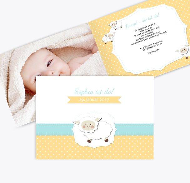 Geburtskarte Schäfchenherde