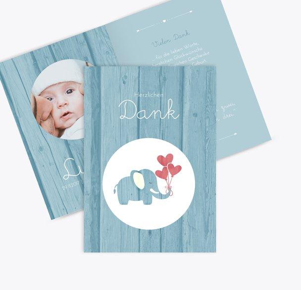 Baby Dankeskarte Elefant