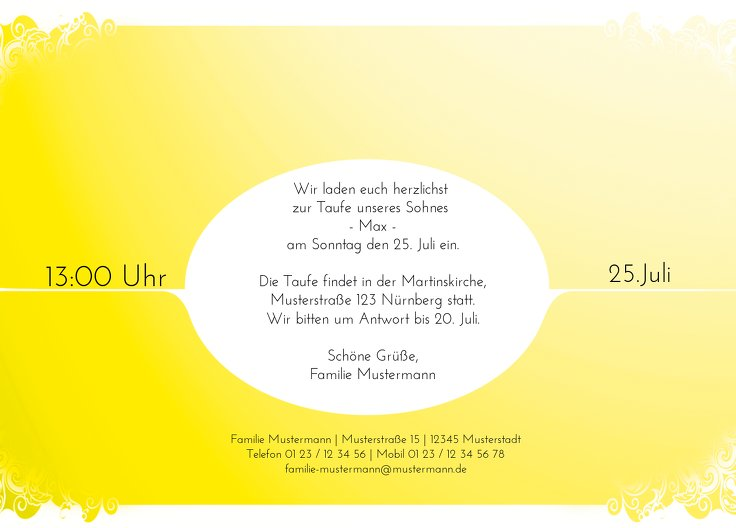 Ansicht 3 - Taufkarte Neu Barock