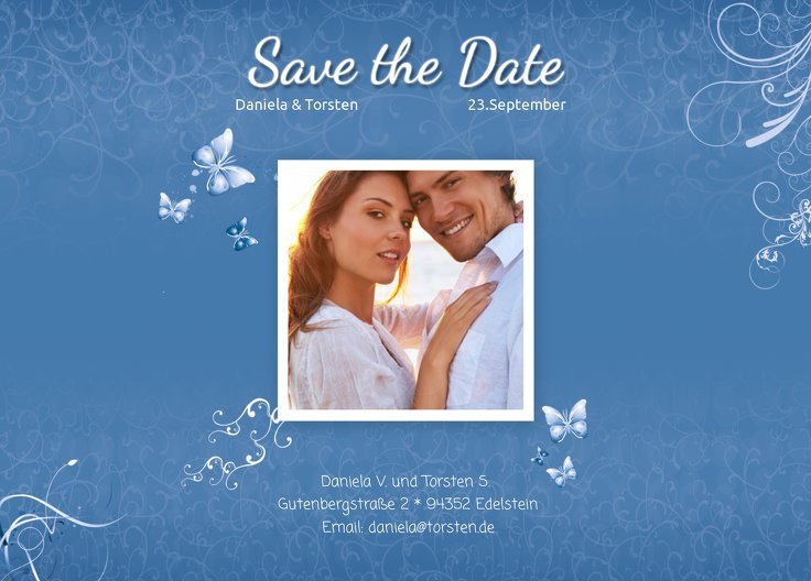 Ansicht 2 - Save-the-Date butterfly