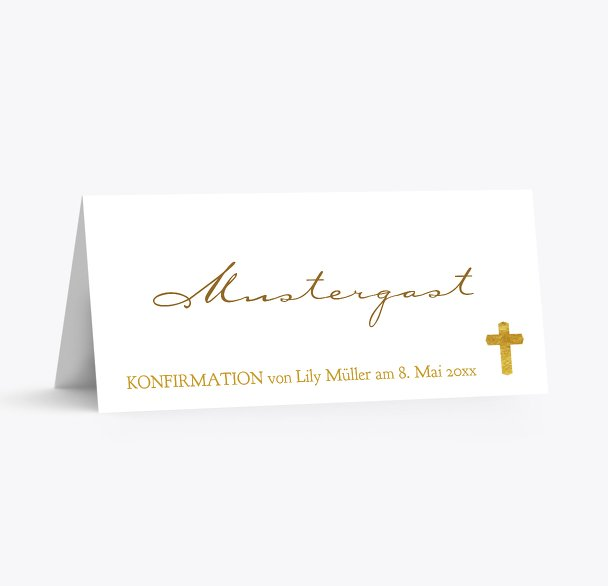Konfirmation Tischkarte Goldrausch